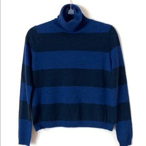 Theory wool cashmere striped turtleneck sweater